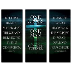 "One Cross Triptych 2'7"" x 6'7""  Vinyl Banner"