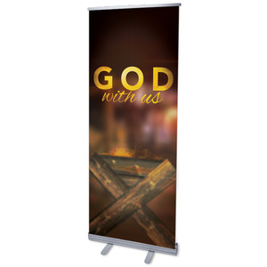 "God With Us Manger 2'7"" x 6'7""  Vinyl Banner"