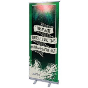 "Hand Drawn Ribbon Palm Sunday 2'7"" x 6'7""  Vinyl Banner"