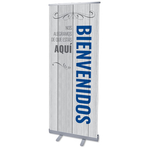 "Painted Wood Welcome Spanish 2'7"" x 6'7""  Vinyl Banner"