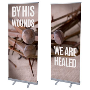 "By His Wounds Pair 2'7"" x 6'7""  Vinyl Banner"