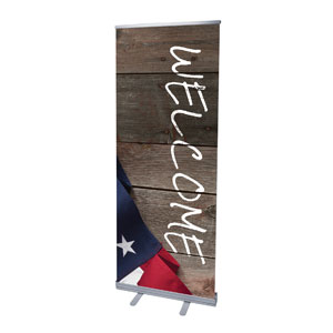 "American Flag Invited 2'7"" x 6'7""  Vinyl Banner"