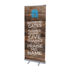 Shiplap Psalm 100:4 Natural Banner