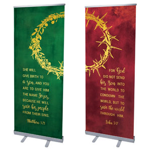 "Wreath and Thorn Crown 2'7"" x 6'7""  Vinyl Banner"
