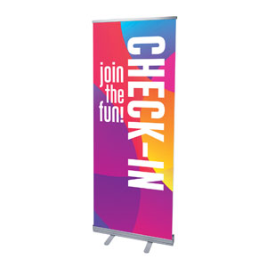 "Curved Colors Check-In 2'7"" x 6'7""  Vinyl Banner"