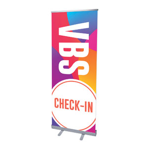 "Curved Colors VBS Check-In 2'7"" x 6'7""  Vinyl Banner"