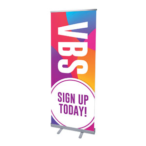 "Curved Colors VBS Sign Up 2'7"" x 6'7""  Vinyl Banner"
