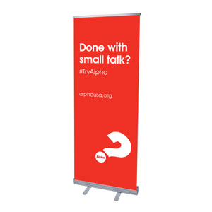 "Alpha Small Talk Red 2'7"" x 6'7""  Vinyl Banner"