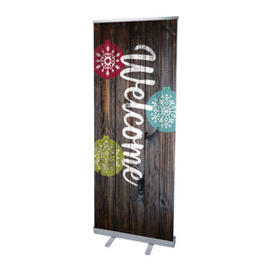 "Dark Wood Christmas Ornaments 2'7"" x 6'7""  Vinyl Banner"