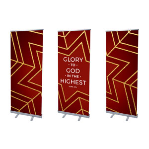 "Red and Gold Snowflake Triptych 2'7"" x 6'7""  Vinyl Banner"
