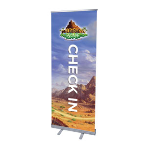 "Wilderness Escape Check-In 2'7"" x 6'7""  Vinyl Banner"