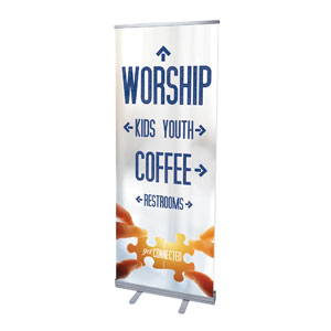 "Connected Directional 2'7"" x 6'7""  Vinyl Banner"
