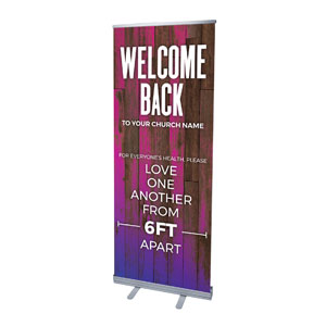 "Colorful Wood Welcome Back Distancing 2'7"" x 6'7""  Vinyl Banner"