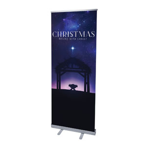 "Begins With Christ Manger 2'7"" x 6'7""  Vinyl Banner"