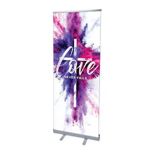 "Love Never Fails 2'7"" x 6'7""  Vinyl Banner"