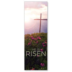 He Is Risen Mountain 2' x 6' Banner