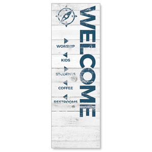 Shiplap White Directional 2' x 6' Banner