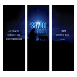 Blue Savior Born 2' x 6' Banner