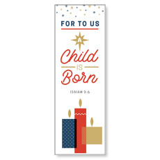 Stamped Christmas Child Born Banner