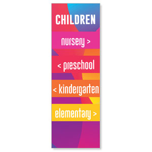 Curved Colors Children Directional 2' x 6' Banner