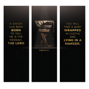 Gold Christmas Manger Triptych 2' x 6' Banner