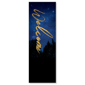 Night Sky Gold Script Welcome 2' x 6' Banner