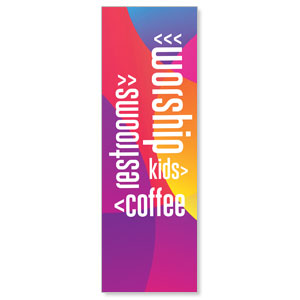 Curved Colors Directional 2' x 6' Banner