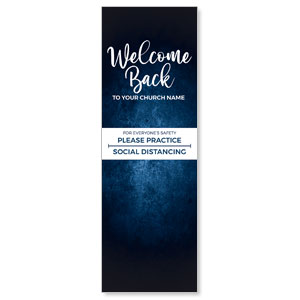 Blue Grunge Welcome Back Distancing 2' x 6' Banner