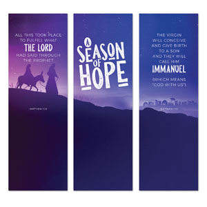 A Season Of Hope Purple Triptych 2' x 6' Banner