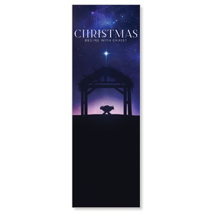 Begins With Christ Manger 2' x 6' Banner