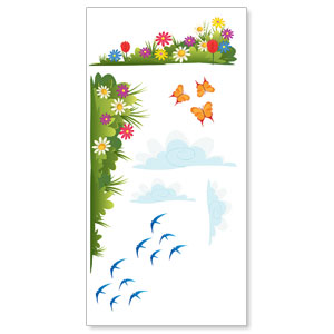 Bright Meadow Wall Set 1 StickUp