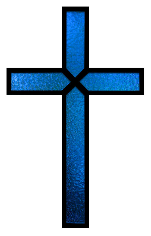 Blue Stained Glass Cross Banner Church Banners