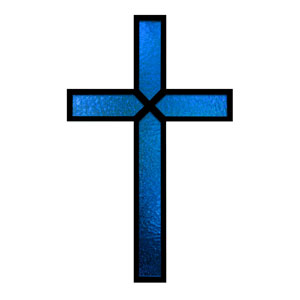 Blue Stained Glass Cross StickUp