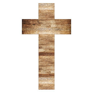 Light Wood Cross StickUp