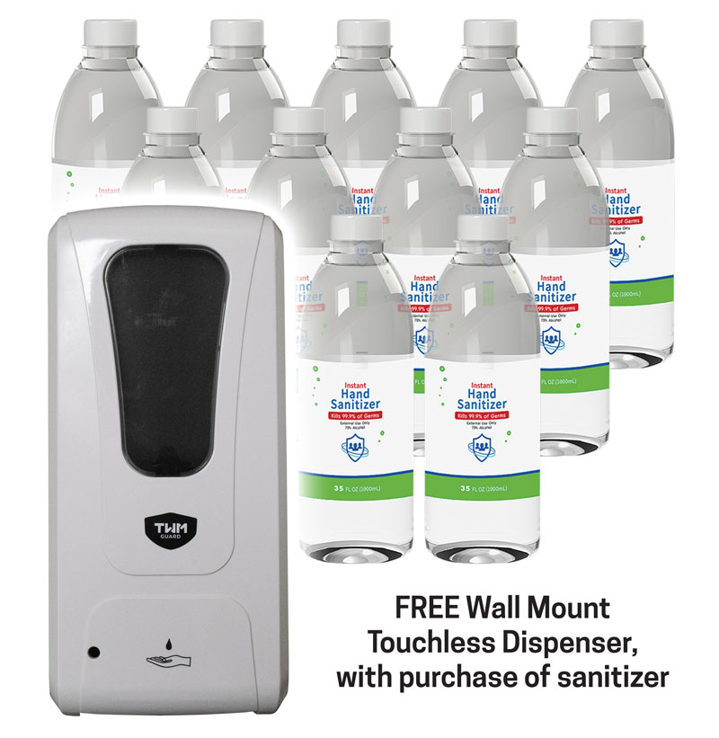 Safety Products, Safety, Case of 12 1-Liter Sanitizer Bottles with Free Wall Dispenser