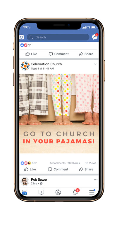 Social Ads, You're Invited, Church In Pajamas