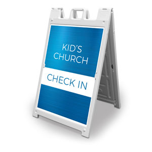 Blue Kids Church Check In 2' x 3' Street Sign Banners