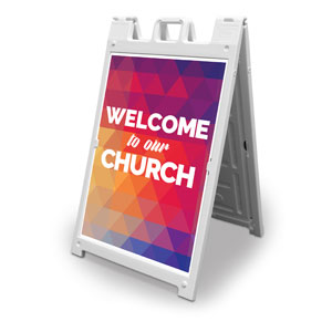 Geometric Bold Welcome To Our Church 2' x 3' Street Sign Banners