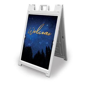 Night Sky Gold Script Welcome 2' x 3' Street Sign Banners