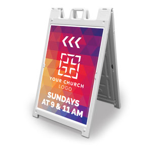 Geometric Bold Church Logo 2' x 3' Street Sign Banners