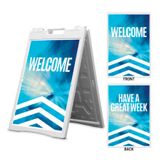 Chevron Blue Welcome Great Week