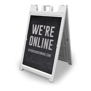 Slate We're Online 2' x 3' Street Sign Banners