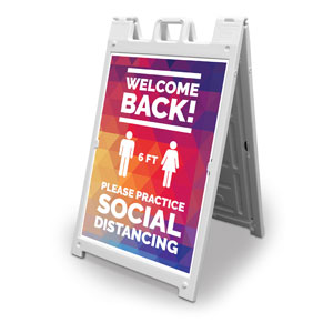 Geometric Bold Welcome Back Distancing 2' x 3' Street Sign Banners
