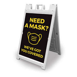 Jet Black Need A Mask 2' x 3' Street Sign Banners