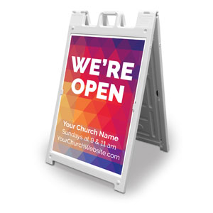 Geometric Bold We're Open 2' x 3' Street Sign Banners