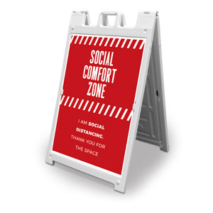 Social Comfort Zone Red 2' x 3' Street Sign Banners