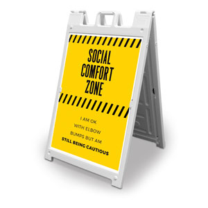 Social Comfort Zone Yellow 2' x 3' Street Sign Banners