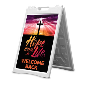 Hope Life Cross Welcome Back 2' x 3' Street Sign Banners