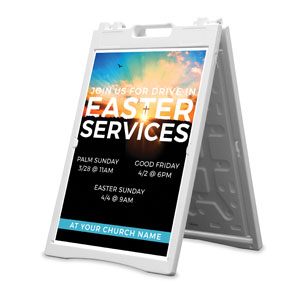 Drive In Easter Services 2' x 3' Street Sign Banners