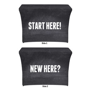 Slate New Here Start Here Stretch Table Covers